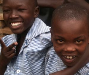 Two young smiling Rwandan boys